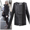 hOT SALE! 2015 New Autumn Winter Womens Fashion Cool Long Sleeve Coat Quilted Asymmetric Zip Jacket Lady Warm Suit Outwear