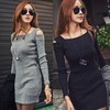 Autumn Dress 2014 New Fashion Sexy Package Hip Women Bodycon Dresses Womens Knitted Winter Dress Black and Grey