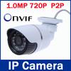 1280*720P 1.0MP ONVIF 2.0 Waterproof Outdoor IR-CUT Filter Night Vision P2P Plug and Play Bullet IP Network CCTV Camera