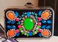 G+2013 Neon gem embroidery bead rhinestone hard case evening bag clutch handbags