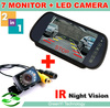 Free Shipping, Auto Parking Reverse Backup Camera, IR Night Vision Rear View Camera With 7 inch LCD Car Mirror Monitor