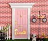 1:12 Dollhouse Miniatures Lovely Fairy Doors Light Pink Exterior Door W/ Metal Accessories Exquisite