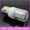 5x Mini E27 24 LED Lamps 220V 7W SMD 5730 Corn Bulb Crystal Droplight Chandelier Spotlight Cool/Warm White 360 degree