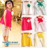 Sale Girls Set shirt+pants 2pcs set d 2014 new children's clothing summer set child flower female vest polka dot harem pants