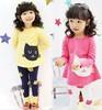 Retail 2014 NEW  Children spring+autumn 2pcs Set  girls clothing  baby girls Clothing sets shirt +pants