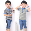 2014 T shirt + Pant Short sleeve Summer Leisure Boys Sets suit Children Strip Print Fashion Kids Setstripe harem pants jeans set