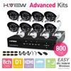 8CH D1 HDMI DVR 8 PCS 800TVL IR Outdoor Weatherproof CCTV Camera 24 LEDs Home Security System Surveillance Kits No HDD