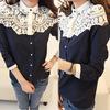 Free shipping 2014 New style women lace patchwork blouse shirts Cape-style chiffon casual shirt stitching lady clothing