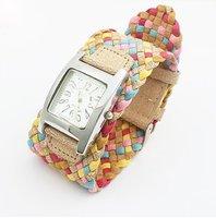 de ancho cinturón de cuerda dama reloj de cuero pulseras pulseras multicolores muñequera de cuero pulseras de cuero disponibles encanto pulseras (China (continental))