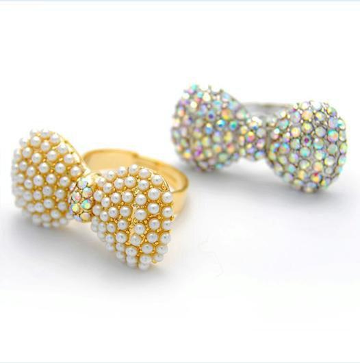 Free shipping butterfly bowknot ring imitation pear finger rings rhinestone jewellery Love Jewel ...