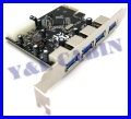 4 Port USB 3.0 USB3.0 HUB to PCI-E PCI Expresscard Card Adapter Converter, VIA VLI VL800, Brand New, Free Shippin
