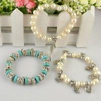 Comercio al por mayor de agua dulce 3 piezas de piedra turquesa brazalete de perlas de joyería de diseño de moda Cóctel mixto Envío Gratis LB222528 (China (continental))