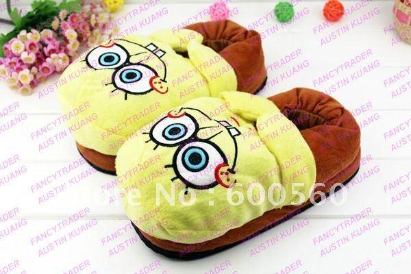 Cute 5 pcs/Lot Women's Spongebob Slippers Stuffed Spongebob Slippers Winter Slippers Good fo ...