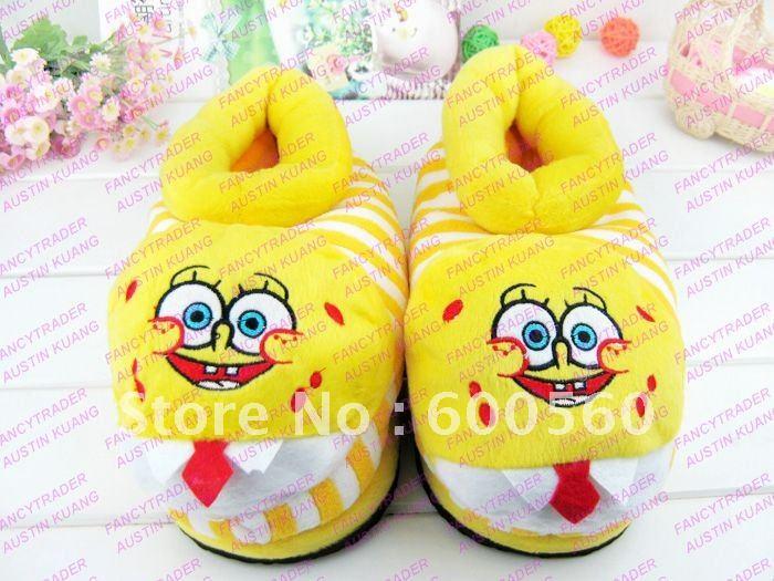 Lovely Wholesale 5 pcs/Lot Spongebob Slippers Stuffed Spongebob Slippers Winter Slippers Women&# ...