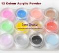 Free Shipping 12 Mix Colors Acrylic Powder Builder Nail Art Set /Nail Acrylic Powder