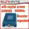 Newest GSM980 900MHZ 3000square meters Mobile Phone Signal Amplifier booster with crystal screen Free shipping