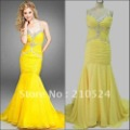Real Image Mermaid Halter Fashion V-neck Beaded Yellow Ruffle Chiffon Floor Length Prom Dresses 55