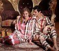 2014 NWT silk skirt pajama sets for men 2 piece shirt lovers 3xl grid lovers night-robe sleep night gown robe lounge set 5388