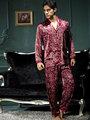 NWt 2013 men's great quality soft silk satin male long-sleeve big plus size 3xl xxxl top shirt pants lounge pajamas set 7202