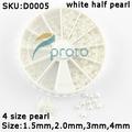 SG POST Freeshipping-4 Sizes White Nail Art Pearl Rhinestone Decoration+Wheel Dropshipping [Retail] SKU:D0005