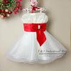 New Infant Girl Party Dresses Beige Girl Formal Princess Dress With Red Belt Kids Wear 6PCS/LOT