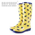freeshipping! Women's yellow tall rain boots yellow little cute dog rainboots knee-high heel water shoes rubber shoes