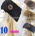 Free shipping 10 Pcs/LOt Women Ear Warmer Headband Hand Crafted BUTTON Knitting Hairband Headwrap