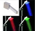 Free shipping 3 color Square LED Shower Head magic sprinkler with 9 LED Temperature Sensor Sprinkler self powered