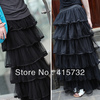 Free Shipping New Arrival Of Spring 2014 Long Tulle Layered Skirts Ruffles Maxi Skirts For Women Black Waisted Skirts For Ladies