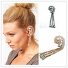 Free Shipping Black&White Silk-stocking Half-moon Tassels Ear Cuff Warp Clip Earring for Girls&Women AC022213