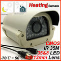 2013 Heating camera 700tvl Color Night Vision Waterproof security CMOS IR CCTV Camera use in the RU