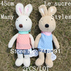 Drop Free Shipping Stuffed Plush Toy Bunnies and Rabbits For Girl's Gifts,Le Sucre,45cm,2PCS/LOT