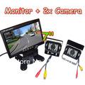 "2x Waterproof IR Car Reversing Camera + 7"" LCD Monitor Car Rear View Kit for long bus Truck Free Shipping"