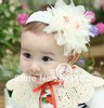 Min order is US10 (mix order) baby Headbands hairband headwear big pink rose flowers elastic white chiffon headband