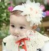 Min order is US10 (mix order) baby Headbands hairband headwear big pink rose flowers elastic white chiffon headband