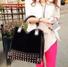 2013 new  rivet package stitching flannel bag shoulder bag brand fashion Rivet Studded Messenger Bag  B069