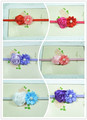 Wholesale - -baby headbands mini rose with satin ribbon flower pearl center Baby Elastic headband 30pcs/lot