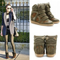 Isabel Marant High-top Suede Wedge Sneakers,Leather Khaki Green,EU35~41,Dense Tooth Soles,Heel 8cm,Drop Shipping/Free Shipping
