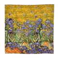 "100% Satin Charmeuse Silk Big Square Scarf Print Van Gogh's ""Irises"" 1889 Art Painting Handrolled Edges Spring Shawl Wraps Green"
