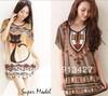 Free Shipping 2014 summer new designer xxxxl women clothing ladies fashion printed tops/tees shirt off shoulder batwing t shirts