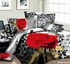 red rose flower black leopard skin printed girls bedding set 3D oil painting bed linen cotton full queen duvet covers sets 4pc