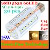 FedEX Free shipping 30 pcs 5630 5730 SMD 60 LED 15W E27 E14 B22 110/220V Corn Bulb SMD Lamp LED corn Light Maize Lamp Spotlight