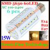 Free shipping 6 pcs E27 E14 B22 15W 5630 5730 SMD 60 LED 110V/220V high power LED corn bulb Maize Lamp SMD light LED spotlight