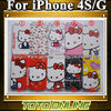 50pcs/lot Wholesale Matte Hello Kitty Covers for iPhone 4 4S Cute Kitty Phone Cases Free Shipping