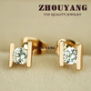 Top Quality ZYE010 Golden H 18K K Gold Plated Stud Earrings Jewelry Austrian Crystal Wholesale