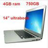 14inch laptop computer ultrabook slim notebook PC intel N2600/D2500 dual core 4GB RAM 750GB WIFI webcam free shipping