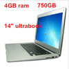 14inch laptop notebook computer ultrabook intel D2500 dual core 4GB RAM 750GB WIFI webcam free shipping