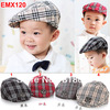 5pcs/lot 2014 new arrival Child hat baseball cap baby beret caps popular plaid peaked sun hat baby pocket hat Free Shipping