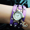 Hot Sale 2014 New Fashion Moon Rhinestone Wrap Leather Dress Watches Crystal Leather Casual Wristwatches for Women Ladies Purple