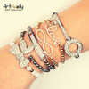 Artilady infinite love key heart bracelet antique stacking crystal bracelet Friendship Gift Jewelry